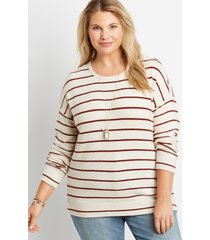 maurices plus size womens stripe straight hem pullover beige