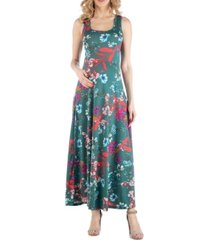 24seven comfort apparel sleeveless multicolor floral print maternity maxi dress