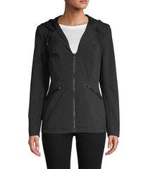 blanc noir women's full-zip hooded jacket - black - size xs