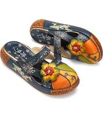 socofy vintage scarpe multicolori floreali all'aperta dietro in cuoio