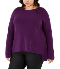 eileen fisher plus size crewneck high-low top