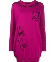 boutique moschino embroidered graffiti jumper dress - pink