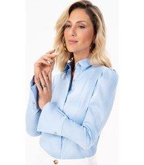 camisa feminina azul com punho evasê