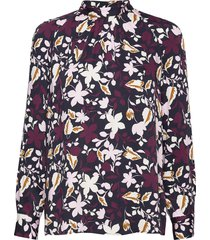 blouse, stand up collar, long sleev blus långärmad multi/mönstrad marc o'polo