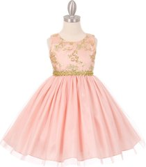blush golden lace flower girl pageant formal birthday bridesmaid party dresses