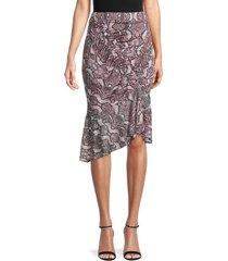 parker women's saffron python-print asymmetrical skirt - viola python - size s