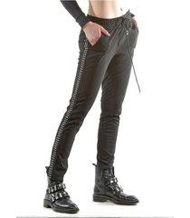 pantalón italiano franja tachas negro bous