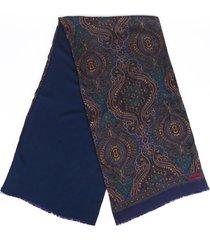 chanel paisley cashmere silk scarf blue/multicolor sz: