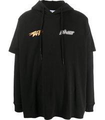 off-white thunder popover layered hoodie - black