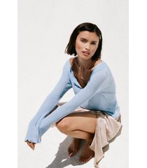 womens are you gonna be our pearl ribbed sweater - light blue
