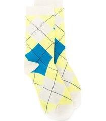 pringle of scotland reissued classic argyle socks - yellow