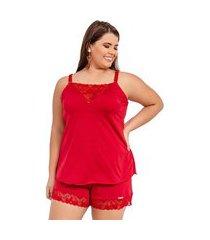 pijama short doll imi lingerie em microfibra e renda plus size cecília vermelho