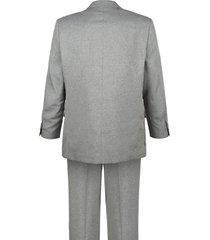 kostym i 4 delar (kavaj, väst och två par byxor) roger kent silvergrå::svart