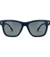 mita sustainable eyewear the wave 50mm square sunglasses in matte dk. blue/smoke at nordstrom