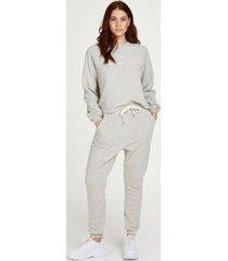 hunkemöller långärmade pyjamasbyxor i borstad sweatshirt – petite grå