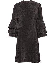 ruffled dress with lurex knälång klänning svart scotch & soda