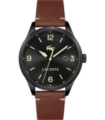 lacoste men's traveler tan leather strap watch 43mm