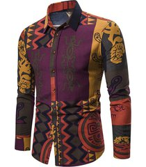 abstract tribal print button up long sleeve shirt