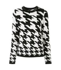 escada houndstooth fitted jumper - preto