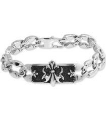 men's fleur-de-lis plate link bracelet in stainless steel & black ion-plate