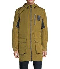 champion men's long hooded cargo jacket - olive khaki - size m