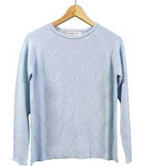 sweater celeste berkland rombito texturado
