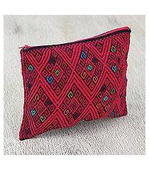 cotton cosmetic bag, 'cherry geometry' (mexico)