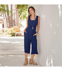 sundance catalog women's cleo favorite jumpsuit in bluedepths xs