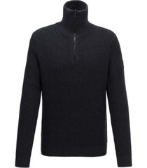 boss men's akromiz zip-neck ribbed sweater