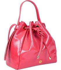 bolsa saco ana hickmann verniz casual com zíper rosa