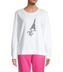 karl lagerfeld paris women's eiffel tower graphic sweatshirt - white black - size xxs