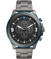 fossil men's tech latitude hr smoke stainless steel bracelet hybrid smart watch 48mm