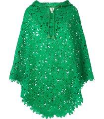 bambah kelly lace crochet poncho - green