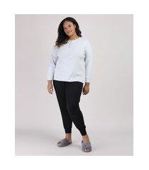 pijama feminino plus size canelado com botões manga longa preto