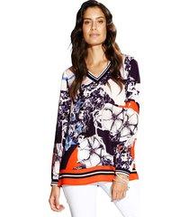 blouse amy vermont donkerblauw::oranje