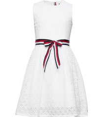 lace stripe dress sl jurk wit tommy hilfiger