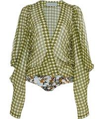 hoshi cold-shoulder gingham silk-chiffon bodysuit