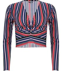 camiseta escote en v a rayas color azul, talla 10