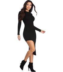 vestido racy modas curto manga longa diagonal preto