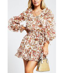 river island womens petite red floral frilly mini dress