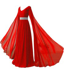 v neck long sleeves chiffon formal prom vintage evening dresses plus size red us