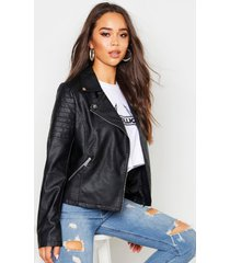 faux leather biker jacket, black