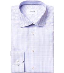 men's big & tall eton contemporary fit check dress shirt, size 18.5 - purple