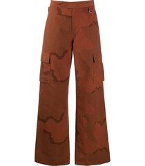 marine serre camouflage-print trousers - orange