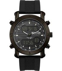 kenneth cole reaction men's analog-digital sport black rubber strap watch 45mm