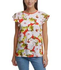 dkny floral-print flutter-sleeve mixed-media top