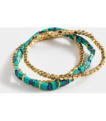 aviana patina cube bracelet set - green