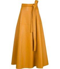 oscar de la renta tie-waist a-line skirt - yellow