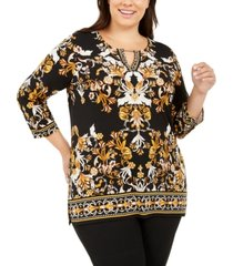 jm collection plus size printed handkerchief-hem top, created for macy's