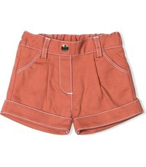 chloé rust-brown cotton-blend shorts